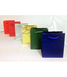 Buste carta Opaca Mis. 45x16x49 manico in corda colorato conf. 12 pz. ass. in 6 colori