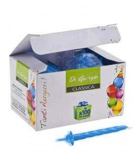 Candeline Compleanno a Spirale conf. da 100 pz. colore Azzurro