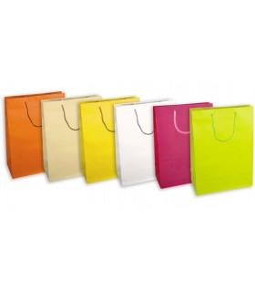 Buste Carta Opaca mis.36x12x41 manico in corda colorato conf. 12 pz. assortiti in 6 colori