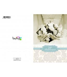 Biglietto Marpimar  25° Anniversario Matrimonio con Glitter conf. da 12 pz. monosoggetto