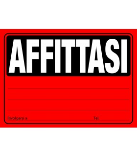Cartelli Affittasi F.to 23x33 conf. da 20 pz. colori assortiti