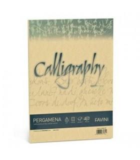 Cartoncino Pergamena Favini Calligraphy F.to A4 da 190gr conf. da 50 fogli color Oro