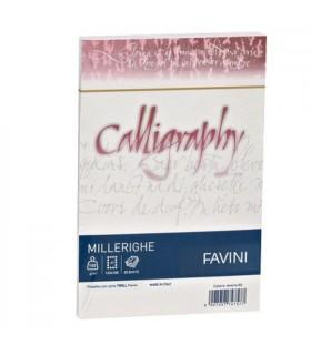 Cartoncino Millerighe Favini Calligraphy F.to A4 da 200gr conf. da 50 fogli color Bianco