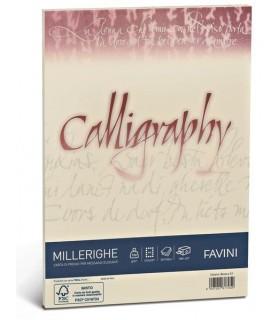 Cartoncino Millerighe Favini Calligraphy F.to A4 da 200gr conf. da 50 fogli color Avorio