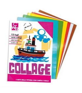 Carta collage CWR colori assortiti cm 24 x 34 conf. 12 fogli
