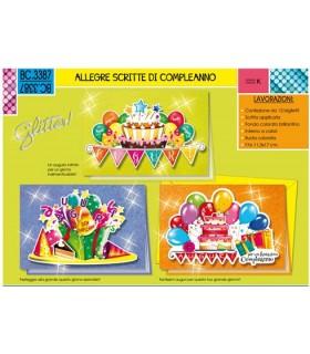 Biglietto Cromo Compleanno conf. da 12 pz. assortiti
