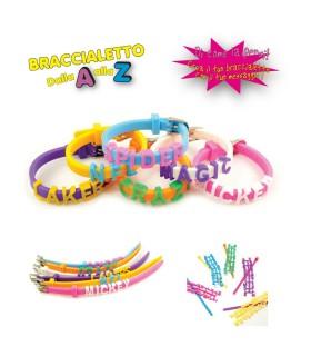 Braccialetto in Silicone dalla A alla Z  Expo da 24 pz. colori assortiti