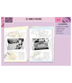 Biglietto Cromo Matrimonio Anniversario 25 Anni conf. da 12 pz. assortito