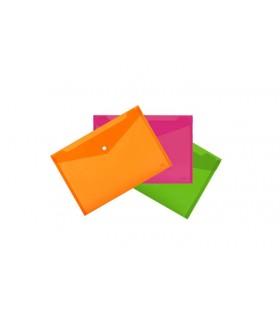 Cartellina A4 Lebez in PVC con chiusura a Bottone conf. da 5 pz. colori Fluo