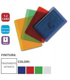 Portacard in PVC Colorato Trasparente Opaco ad 1 Tasca Expo da 72 pz.