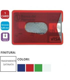Portacard Morbido in PVC colorato Trasparente ad 1 Scomparto  Expo da 64 pz. ass. in 4 colori