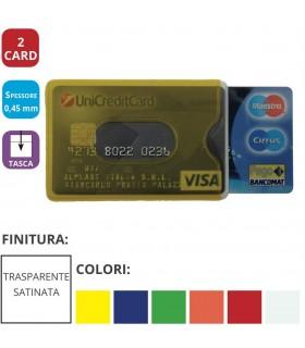 Portacard Morbido in PVC colorato Trasparente a 2 Scomparti Expo da 48 pz. ass. in 6 colori