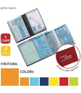 Portacard in PVC a 5 Scomparti con interno a Fisarmonica Expo da 24 pz.