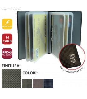 Portacard a Libro 14 Scomparti con Protezione Contactless Anti lettura Expo da 24 pz. Fantasie assortite
