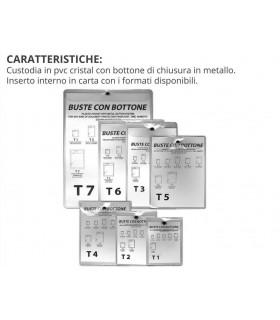 Busta in PVC con Bottone T1 Mis.  8.5x10.5 cm con. 10 pz.