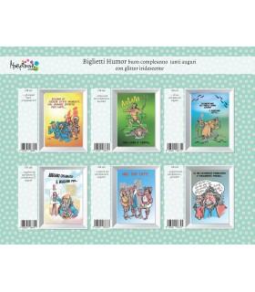 Biglietto Marpimar Compleanno Humor con Glitter conf. da 12 pz. assortito con 6 soggetti