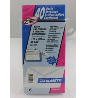 Buste lettera Blasetti  mis. 11X23 Autoadesive+Finestra blister da 40  pz