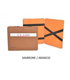 Portafoglio P/Card Migio in Similpelle bicolore Marrone/Arancio