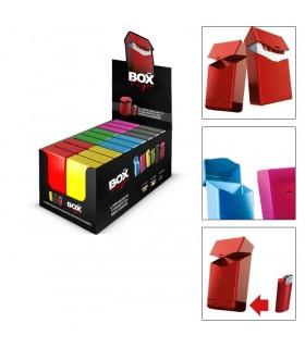 Copripacchetto di Sigarette con Porta Accendino in PVC con chiusura a click Expo da  18 pz. assortito in 6 colori