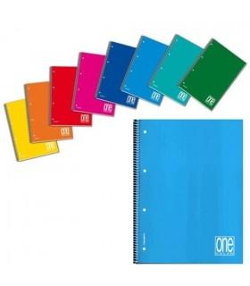 Quaderno One Color spiralato forato rig. 5M conf. 5 pz. colori assortiti
