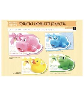 Biglietto Cromo Nascita Animaletti conf. da 12 pz. assortiti