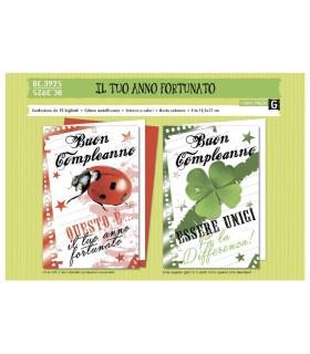 Biglietto Compleanno Cromo Il tuo Anno Fortunato conf. da 12 pz. assortiti