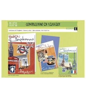 Biglietto Cromo Compleanno City conf. da 12 pz. assortiti
