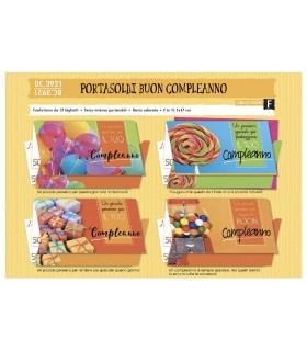 Biglietto Cromo Compleanno Portasoldi conf. da 12 pz. assortiti