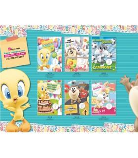 Biglietto Marpimar Compleanno Looney Tunes con Rotella 1-9 Anni e Glitter conf. da 12 pz. assortiti