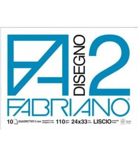 Blocco Disegno Fabriano F2 24x33 Quadrettato 5mm  Liscio