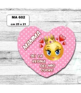 Cuscino A Forma di Cuore Mamma cm.25x21 colore rosa