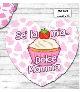 """Cuscino A Forma di Cuore Mamma  """"Dolcetto"""" cm.40x35"""