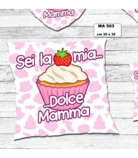 """Cuscino Mamma  """"Dolcetto"""" cm.35x35 colore rosa"""