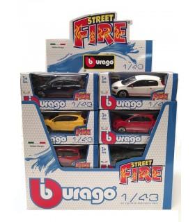 Auto Street Fire Italiane Burago Scala 1:43 Expo da 24 pz. modelli assortiti