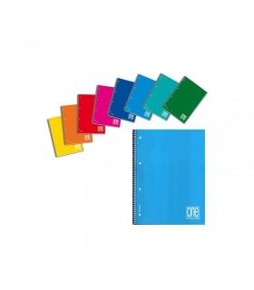 Quaderno One Color spiralato forato rig.4M  conf. 5 pz. colori assortiti