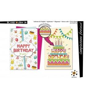 Biglietto Cromo Compleanno Festoso conf. 12 pz.