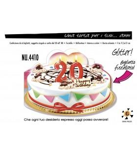 Biglietto Cromo Compleanno Una Torta per i Tuoi 20 Anni conf. 6 pz.