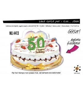 Biglietto Cromo Compleanno Una Torta per i Tuoi 50 Anni conf. 6 pz.