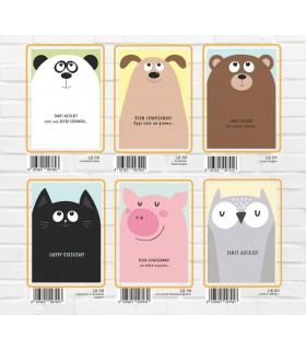 Biglietto Marpimar Compleanno Animals Fustellati con Glitter conf. 12 pz. assortiti