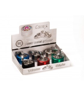 Grinder Coney in Metallo 3 Parti Expo da 6 pz. assortito con 6 colori