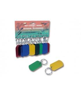 Portachiavi in alluminio + gomma con anello Cartella da 12 pz. colori assortiti