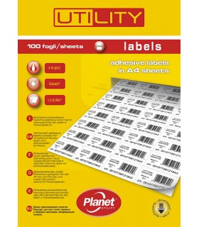 Etichette Adesive A4 Misura 105x297 conf. 100 fogli