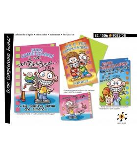 Biglietto Cromo Compleanno Humor conf. 12 pz. assortiti