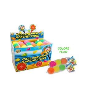 Pallina in Gomma per Racchettoni Colori Fluo