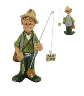"""Caricature Mestieri """"Il Pescatore"""" H. 15 cm"""