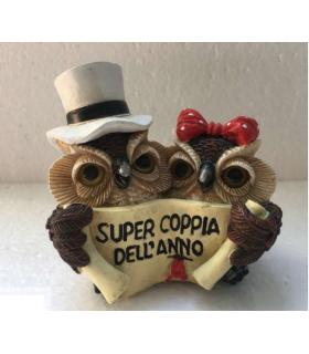 """Statuina in Resina Gufetti """"Super Coppia Dell'anno"""" H.6 cm"""