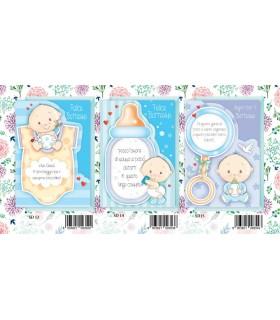 Biglietto Marpimar Battesimo Design con Glitter Bambino conf. 12 pz. assortiti