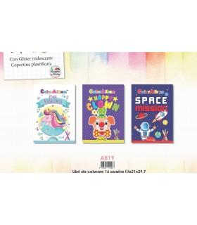3 Libri da Colorare Marpimar con Glitter da 16 Pagine assortiti