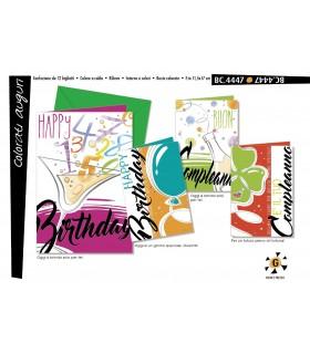 Biglietto Cromo Compleanno conf. 12 pz. assortiti