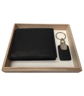 Parure Lancetti con Portafoglio in Vera Pelle e Portachiavi in metallo colore T.Moro confezionata in Elegante scatola in Legno